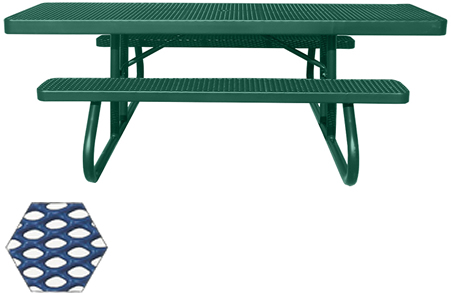 Commercial Picnic Table, Plastisol Coated Expanded Metal - ADA - Champion Series, 8 Ft. Long Rectangle Top, Two 6 Ft. Attached Seats, Handicap Accessible, Portable Mount
