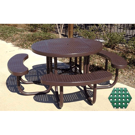 Commercial Picnic Table, Plastisol Coated Perforated Metal - Champion Series