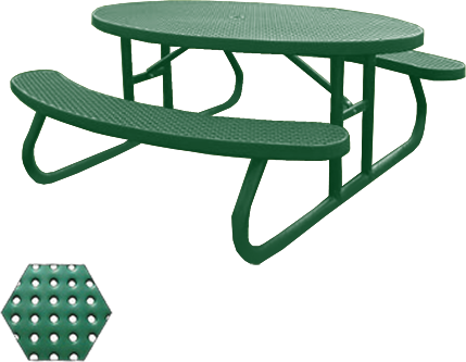 Commercial Picnic Table, Plastisol Coated Perforated Metal - Champion Series, 6 Ft. Long Oval Top, Two Attached Seats, Portable Mount