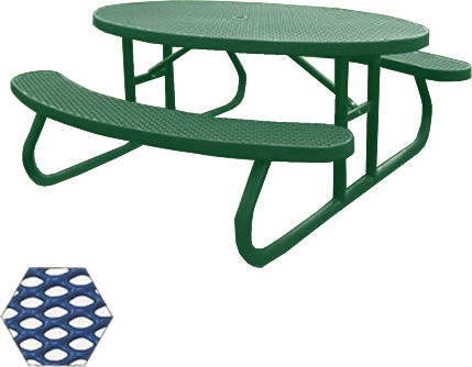 Commercial Picnic Table, Plastisol Coated Expanded Metal - Champion Series, 6 Ft. Long Oval Top, Two Attached Seats, Portable Mount