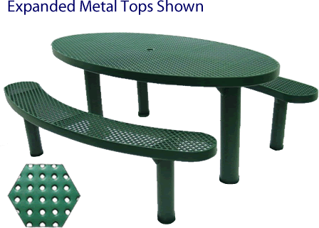 Commercial Picnic Table, Plastisol Coated Perforated Metal - Champion Series, 6 Ft. Long Oval Top, Two Separate Seats, Six Pedestals, In Ground Mount