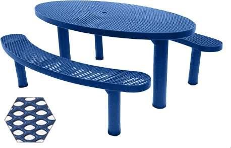 Commercial Picnic Table, Plastisol Coated Expanded Metal - Champion Series, 6 Ft. Long Oval Top, Two Separate Seats, Six Pedestals, In Ground Mount