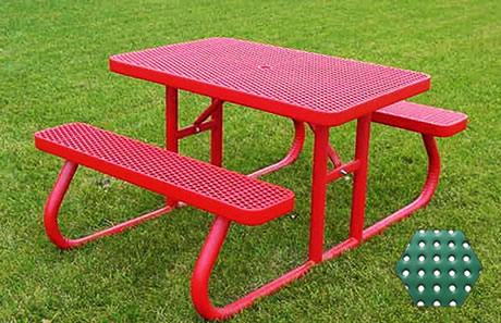 Commercial Picnic Table, Plastisol Coated Perforated Metal - Champion Series, 4 Ft. Long Rectangle, Two Attached Seats, Portable Mount