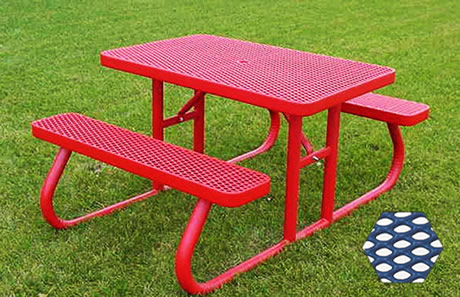 Commercial Picnic Table, Plastisol Coated Expanded Metal - Champion Series, 4 Ft. Long Rectangle, Two Attached Seats, Portable Mount