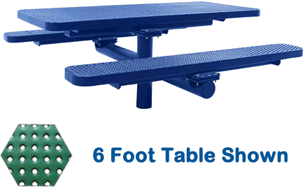 Commercial Picnic Table, Plastisol Coated Perforated Metal - Champion Series, 4 Ft. Long Rectangle, Single Pedestal with Attached Seats, In Ground Mount