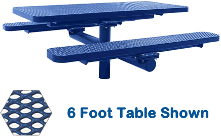 Commercial Picnic Table, Plastisol Coated Expanded Metal - Champion Series, 4 Ft. Long Rectangle, Single Pedestal with Attached Seats, In Ground Mount