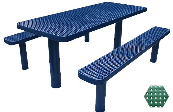 Commercial Picnic Table, Plastisol Coated Perforated Metal - Champion Series, 6 Ft. Long Rectangle, Six Pedestals, Separate Seats, In Ground Mount