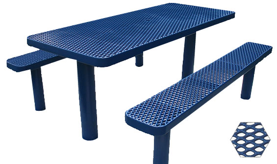 Commercial Picnic Table, Plastisol Coated Expanded Metal - Champion Series, 6 Ft. Long Rectangle, Six Pedestals, Separate Seats, In Ground Mount
