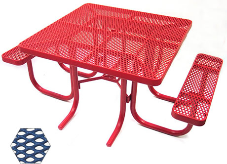 Commercial Picnic Table, Plastisol Coated Expanded Metal - ADA - Champion Series, 4 Ft. Square Top, Three Attached Seats, Wheel Chair Accessible, Portable Mount