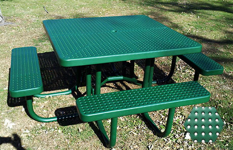 Commercial Picnic Table, Plastisol Coated Perforated Metal - Champion Series, 4 Ft. Square Top, Four Attached Seats, Portable Mount
