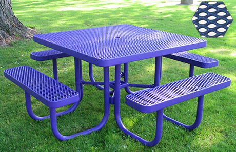 Commercial Picnic Table, Plastisol Coated Expanded Metal - Champion Series, 4 Ft. Square Top, Four Attached Seats, Portable Mount