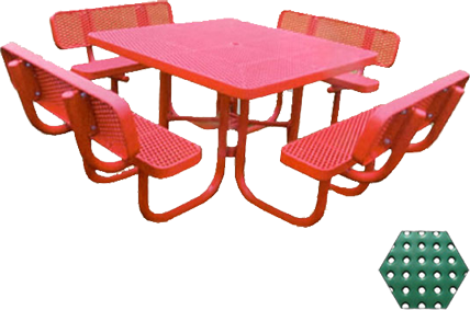 Commercial Picnic Table, Plastisol Coated Perforated Metal - Champion Series, 4 Ft. Square Top, Four Attached Seats with Backs, Portable Mount
