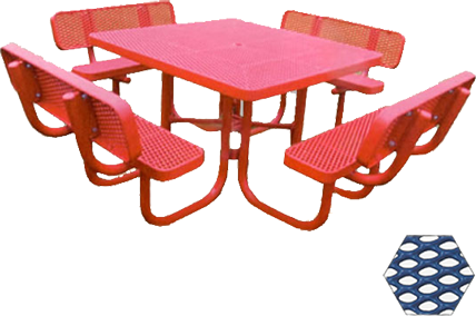 Commercial Picnic Table, Plastisol Coated Expanded Metal - Champion Series, 4 Ft. Square Top, Four Attached Seats with Backs, Portable Mount