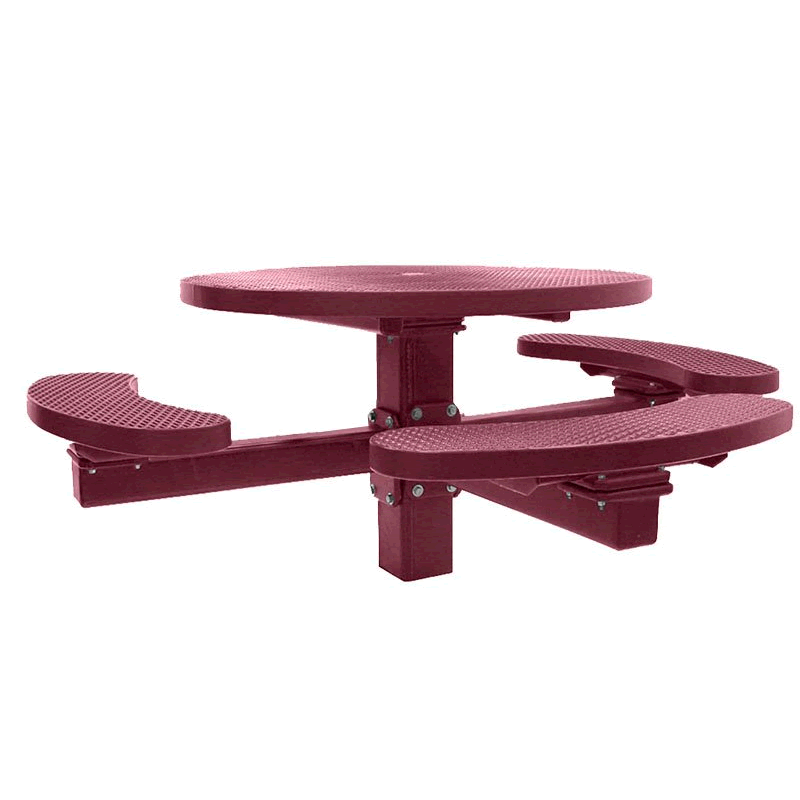 Champion Series Round Picnic Table with 3 Seats - Single Pedestal - 4' Top