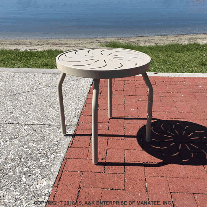 Punch Metal Top Round Side Table with Straight Legs