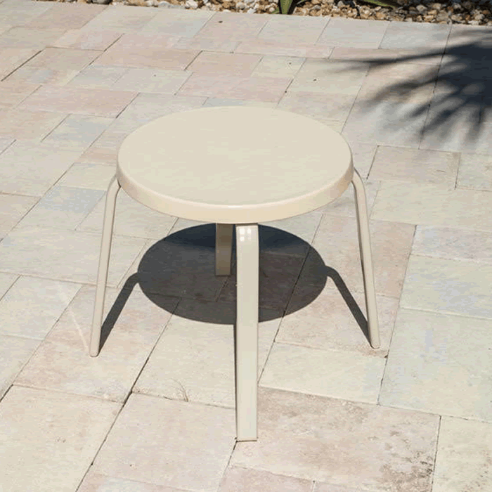 Fiberglass Top Round Patio Side Table with Straight Rectangular Tube Legs