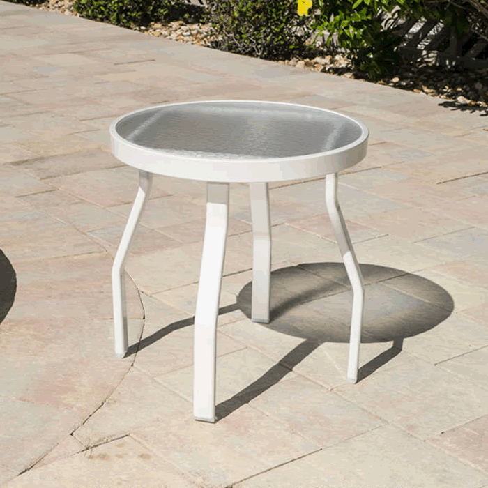Acrylic Top Round Patio Side Table with Angled Rectangular Tube Legs