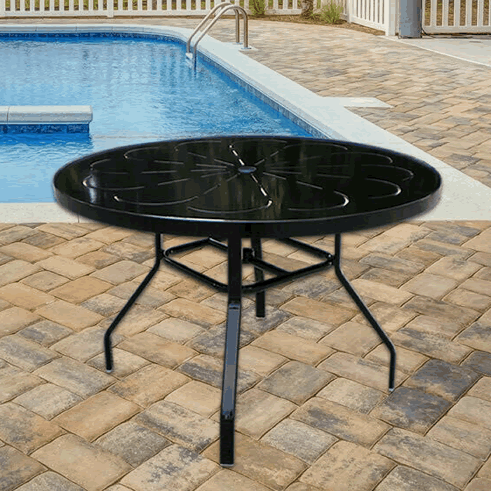 "42"" Round Punched Metal Top Dining Table with Umbrella Hole"