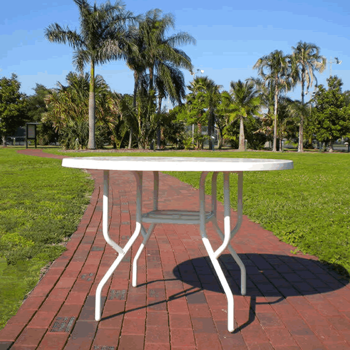 "42"" Round Fiberglass Top Dining Table with Umbrella Hole"