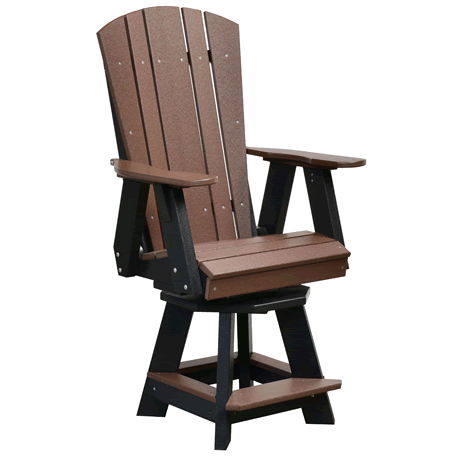 Counter Height Balcony Swivel Chair - Tudor Brown on Black - Two Tone Color Combinations Are Available, Call for Info