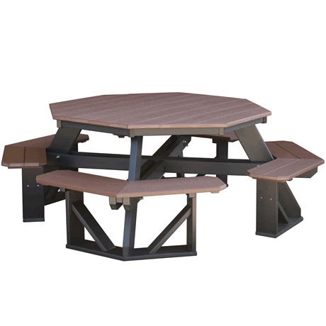 Octagon Picnic Table - Tudor Brown on Black - Two Tone Color Combinations Are Available, Call for Info