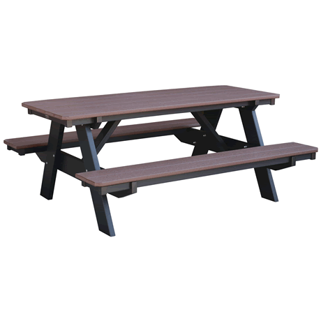 Picnic Table with Attached Benches - Tudor Brown on Black - Two Tone Color Combinations Are Available, Call for Info
