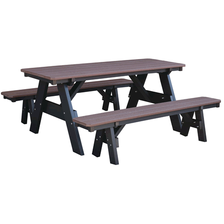 Picnic Table with Unattached Benches - Tudor Brown on Black - Two Tone Color Combinations Are Available, Call for Info