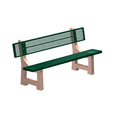 "Lakeside Concrete Bench with Powder Coated Seat and Back, #9 3/4"" Expanded Metal Seat and Back on a Reinforced Concrete Frame, 6' Long, 210 lbs."