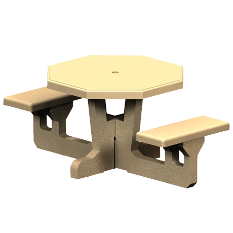 Concrete Octagon Top-Picnic Tables