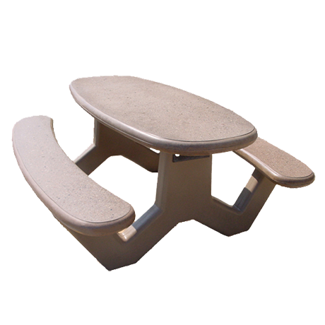 Concrete Oval Top-Picnic Tables