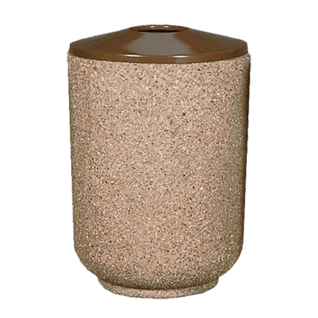 Round Concrete Trash Container with Convex Spun Aluminum Pitch In Top