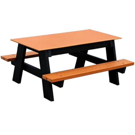 Recycled Plastic Kids Picnic Table - Kindergarten Size, 4 ft. Length, A-Frame Style, Seats: 10-1/2 in. from Ground, Solid Surface Top, 86 lbs.