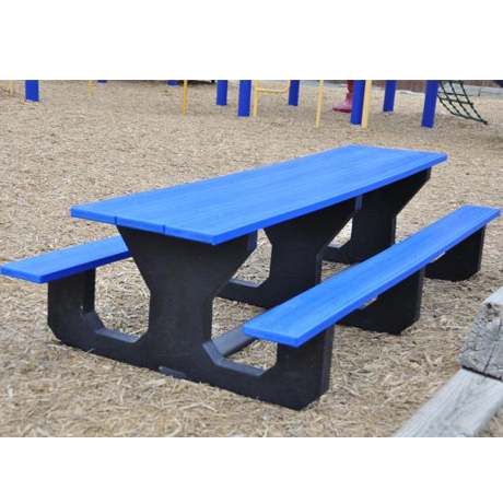 Recycled Plastic Kids Picnic Table - Toddler Size, 6 ft. Length, Rectangular, Seats: 10-1/2 in. from Ground, 3 Leg Sets, 106 lbs.