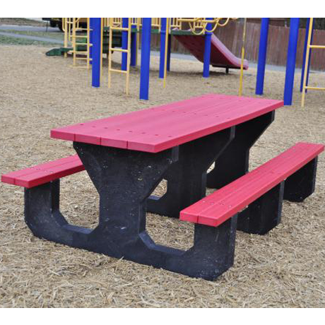 Recycled Plastic Kids Picnic Table - Youth Size, 6 ft. Length, Rectangular, Seats: 14 in. from Ground, 3 Leg Sets, 230 lbs.