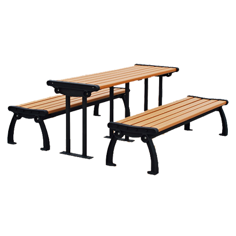 Recycled Plastic Picnic Table and Benches - Heritage Style, Recycled Plastic Top and Seats, Cast Aluminum Bench Frames, Steel Table Legs, Six ft. Long, Portable Mount, 310 lbs.