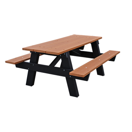 Recycled Plastic Picnic Table - A-Frame, Recycled Plastic Top, Seats, and Frame, 6 ft. Long, 260 lbs.