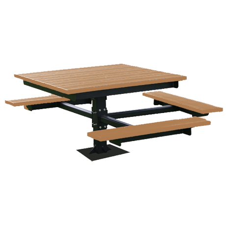 Recycled Plastic Picnic Table - T-Table - ADA, Recycled Plastic Top and Seats, Single Square Steel Post Frame, 4 ft. Square Top, 3 Seats, 270 lbs.