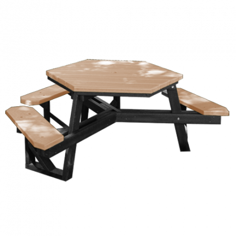 Recycled Plastic Picnic Table - Hexagonal - ADA, Recycled Plastic Top, Seats, and Frame, Top: 3-1/2 ft. Side-to-Side, 4 Seats, 210 lbs.