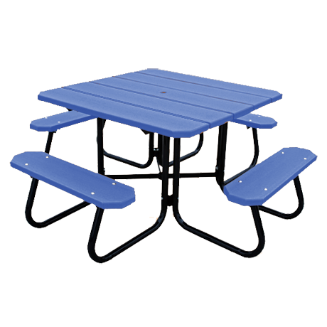 Recycled Plastic Picnic Table - Square Table, Recycled Plastic Top and Seats, Powder Coated Steel Tube Base, 4 ft. Square Top, 4 Seats, 250 lbs.