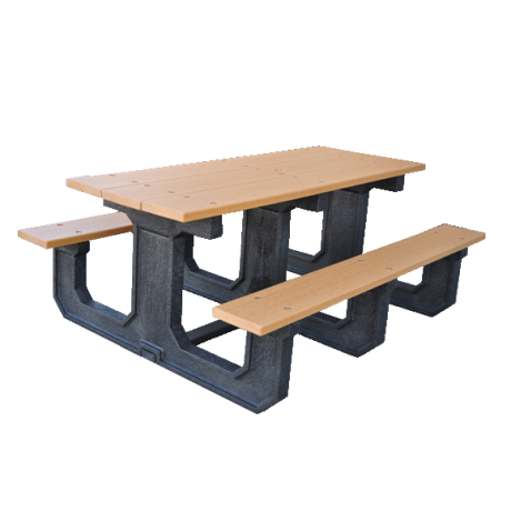 Recycled Plastic Picnic Table - Park Place Series, 6 ft. Length, Rectangular, 3 Leg Sets, 310 lbs.