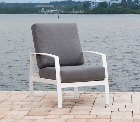 Trek Cushion Lounge Chair, Grade B Fabric Cushion, Powder Coated Cast Aluminum Frame, Stackable