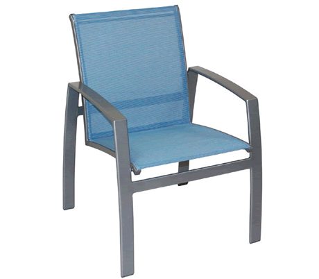 Trek Low Back Split Sling Dining Chair, Grade B Fabric Cushion, Powder Coated Cast Aluminum Frame