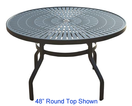 "42"" Round Punched Metal Top Dining Table with Umbrella Hole, Star Burst Pattern"