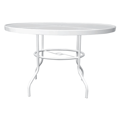 "42"" Round Acrylic Top Dining Table with Umbrella Hole, Aluminum Frame, 29"" High"