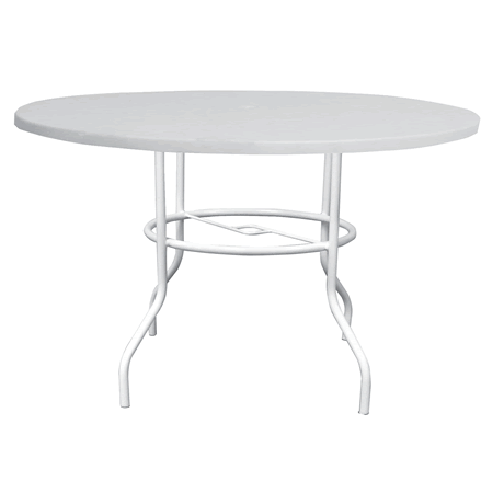 "42"" Round Fiberglass Top Dining Table with Umbrella Hole, Aluminum Frame, 29"" High"