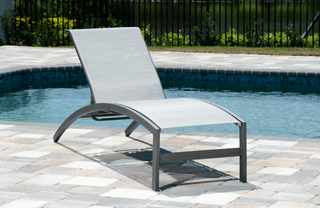 Trek Armless Chaise Lounge, Grade B Fabric Sling, Powder Coated Cast Aluminum Frame, Stackable