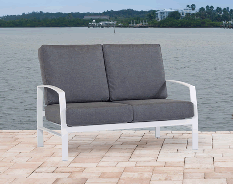 Trek Cushion Loveseat, Grade B Fabric Sling, Powder Coated Cast Aluminum Frame