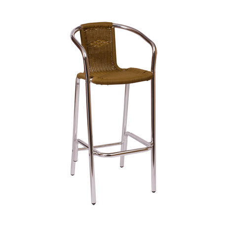 Barcelona Arm Barstool with Synthetic Wicker Seat-