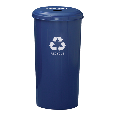 "Tall Round Recycling Wastebasket and Top With 4"" Round Opening"
