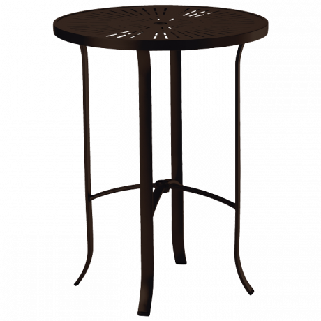Tropitone 30 In. Round La Stratta Pattern Aluminum Bar Table-